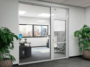 Cgp Office Partition System Glass Aluminum Wall 10and039 X 9and039 W/ Door Clear Anodized