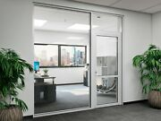 Cgp Office Partition System Glass Aluminum Wall 12and039 X 9and039 W/ Door Clear Anodized