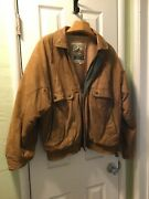 90andrsquos Vintage New Zealand Outback Leather Jacket L Brown W Green Accents