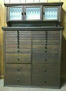1920's Oak Dental Cabinet, Jewelry / Collectors Cabinet With 22 Drawers