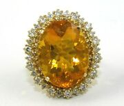 Oval Mexican Fire Opal And Diamond Halo Ladyand039s Ring 14k Yellow Gold 13.75ct