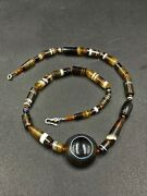 Ancient Old Antique Luk Mik Or Magic Eye Bead Along With Banded Agate Old Beads