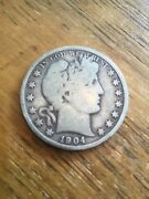 1904-s Barber Half Vg Scarce Date -see My Listings For Silver Dollars And Silver