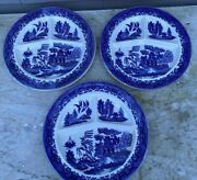 3 Occupied Japan Blue Willow Grill Divided Dinner Plates In Excellent Condition