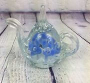 Vintage Signed 1992 Gibson Glass Paperweight Tea Kettle Floral Design - 3.25 T