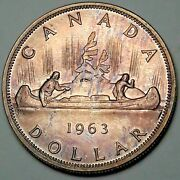 1963 Canada Silver Dollar Proof Like Bu Monster Stunning Toned Unc Color Dr