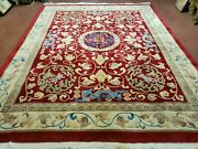 8and039 X 10and039 Hand Made Art Deco Chinese Rug Carving Carpet 90 Line Dragon Flower Red