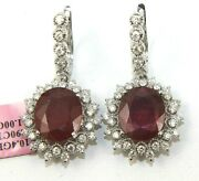Oval Red Ruby And Diamond Halo Drop Snap Ladyand039s Earrings 14k White Gold 12.90ct