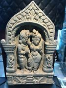Gandhara Schist Panel With Married Couple Mounted On Stand Old Greek Antiquity