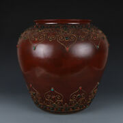 Antique Old Chinese Qing Dynasty Red Glaze Porcelain Gem Inlay Jar Pot 17.7