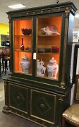 Antique Cabinet, French Green With Gold Trim Wire Inset Doors Interior Lights