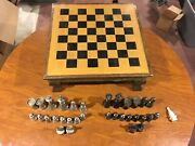 Wood 19inch Chess Board With Beautiful Copper Trim Very Unique With Pieces
