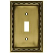 Beaded Decorative Single Switch Plate, Tumbled Antique Brass