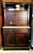 Victorian Era Multi Drawer Dental Cabinet With Marble Surface Area