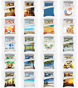Ambesonne Beach Graphic Bedding Set Duvet Cover Sham Fitted Sheet In 3 Sizes