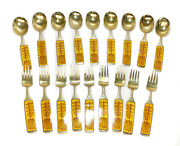 A. Michelsen And Paul Gauguin Gilt Silver And Enamel Christmas Fork And Spoon Set 1967