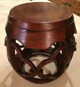 Vintage Chinese Rosewood Barrel End Table Carved, Celebrity Owned By Anne Baxter
