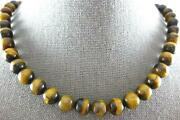 Estate Long Aaa Tiger Eye 14kt Yellow Gold Multi Bead Classic Lucky Necklace