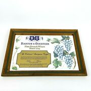 Barton And Guestier French Wine Advertising Mirror Grapes Bandg Browne Vintners Ny