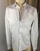 Stone Rose Red Rivet Collection Manandrsquos White 💯 Cotton Weaves Dress Shirts 2 New