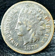 1870 Key Date Indian Head Penny Shallow N Diamonds Very Fine + Condition