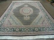 8and039 X 10and039 Vintage Fine Hand Made Chinese Oriental Allover Wool And Silk Rug Black