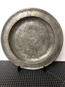 William Bradford Colonial Pewter Charger Plate Marked 16.5andrdquo Americana