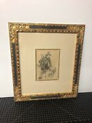 Antique French Drawing Signed Framed Man In Green Coat And Hat 5.5x7.5andrdquo Framed