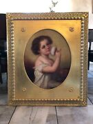 """Antique Oil Painting Portrait Young Child Makeup Framed 32x37"""" Oval Gold"""