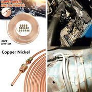 1 Set Copper Nickel 25ft Brake Line Tubing Kit 3/16and039and039 Od Tube W/16pcs Fittings