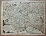 Italy Lumbardy Dated 1680 Giacomo De Rossi Large Antique Map 17th Century