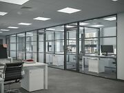 Cgp Office Partition System Glass Aluminum Wall 16and039 X 9and039 W/door Black Color