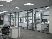 Cgp Office Partition System Glass Aluminum Wall 17and039 X 9and039 W/door Black Color