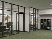 Cgp Office Partition System Glass Aluminum Wall 14and039 X 9and039 W/door Black Color