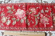 Antique C1870 French Hand Blocked Turkey Red Rose Border Cotton Fabric72x9