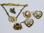 Vintage Wotm Woman Of The Moose Heart Pins, Tie Clip And Sterling Moose Head