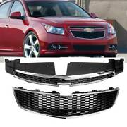 2pcs/set Abs Front Bumper Upper And Lower Grilles For 2011-2014 12 13 Chevy Cruze