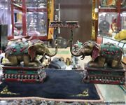 Tibetan Copper Inlay Turquoise Coral Elephant Zun Candle Holder Candlestick Pair