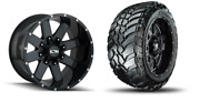 20x10 -19 Ion 141 Gloss Black Wheels 32 Mt Tires Package 8x180 Chevy Gmc Truck