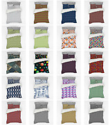 Ambesonne Geometric Themed Bedding Set Duvet Cover Sham Fitted Sheet In 3 Sizes