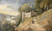 William George Jennings Italianate Landscape With Figures Andndash C.1820s Watercolour