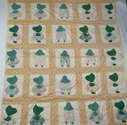 Handmade Sunbonnet Sue Quilt Feedsack 1930andrdquo Hand Stitched Appliqued 64andrdquox74andrdquo