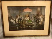 8 Framed Antique Prints Of Dogs Playing Cards - Very Fine Estate