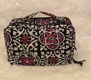 Vera Bradley Scroll Medallion Cotton Large Blush And Brush Cosmetic Makeup Case