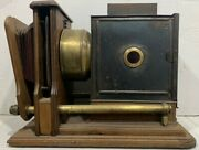 Antique Large Brass And Wood Lantern Bellows Projector
