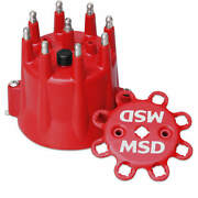 Msd 8433 Red, V8 Distributor Cap With Hei Terminals And Spark Plug Wire Retainer