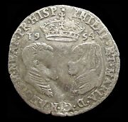 Philip And Mary 1554 Silver Hammered Sixpence - Rare Error 1954 Date - Vf