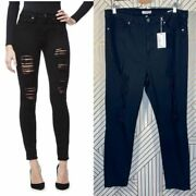 Good American Good Legs Jeans In Black Ripped Skinny Leg High Rise Power Size 22