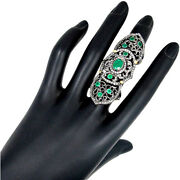 925 Silver Emerald Gemstone 2ct Diamond Studded 14k Gold Knuckle Ring Jewelry Oy