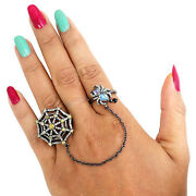 Moonstone Double Finger Slave Ring Diamond 925 Silver Vintage Inspire Jewelry Py